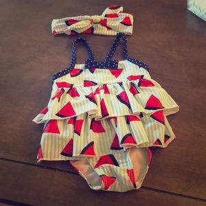 Other - 👶🏼 watermelon swimsuit with matching headband